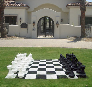 Giant Lawn Chess Set - displayed on lawn