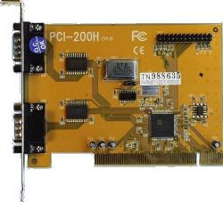 Dual serial, single parallel PCI-bus card