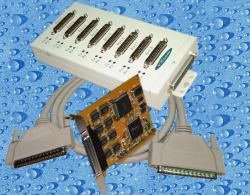 8-port serial card (PCI-bus, 25-pin COM-BOX)